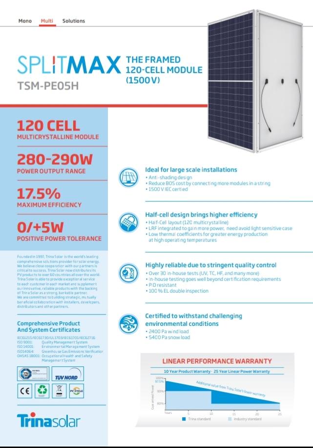 Trina solar TSM-280  PE05H